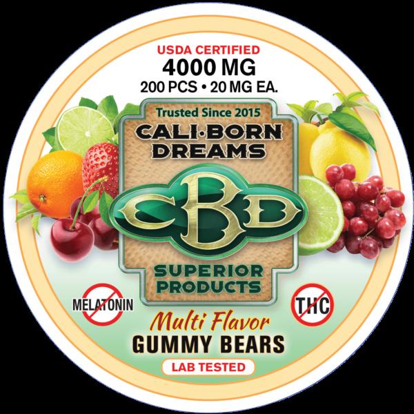 CBD Gummy Bears (Non-Melatonin)   Cali-Born Dreams