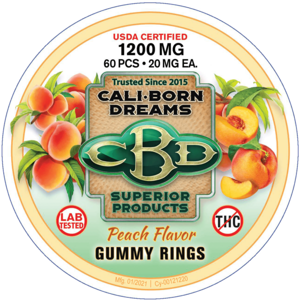 Peach CBD Gummy Rings   Cali-Born Dreams