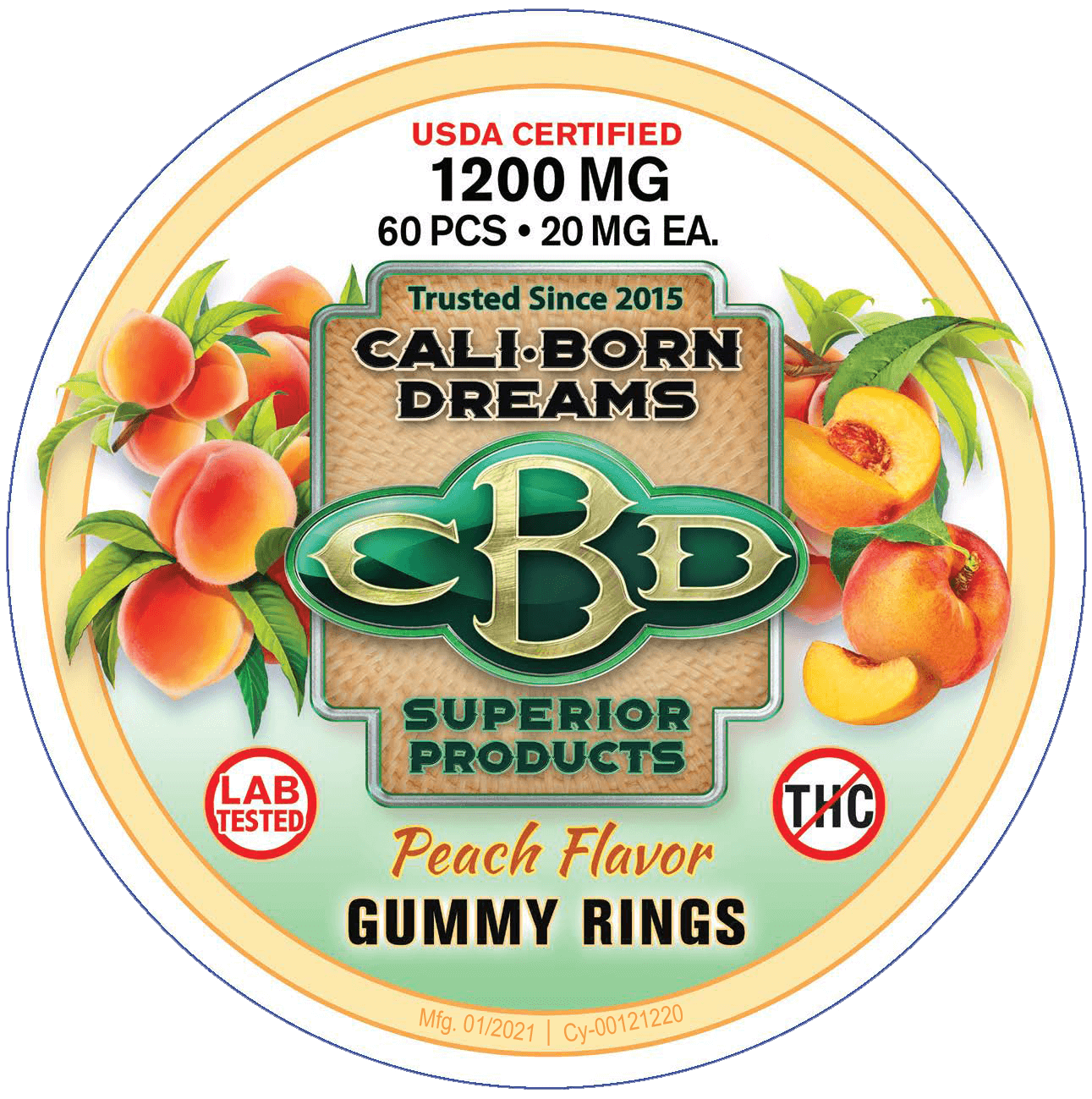 Peach-Flavored 20MG CBD Gummy Rings – 60 CT (w/Melatonin)