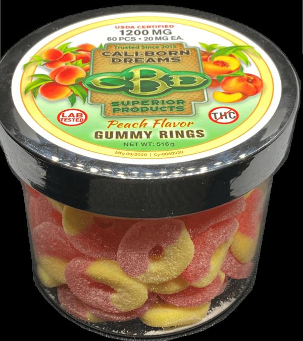 Peach CBD Gummy   Cali-Born Dreams