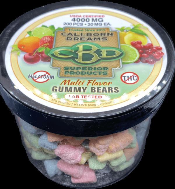 Multi Flavor CBD Gummy Bears with no melatonin   Cali-Born Dreams